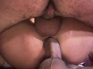 Penetrating gangbang shtick featuring a unusual flaxen-haired