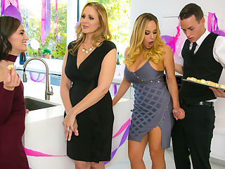 Julia Ann  Olivia Austin  Justin Chase involving My Stepmoms Dancing party Pulsate - BrazzersNetwork