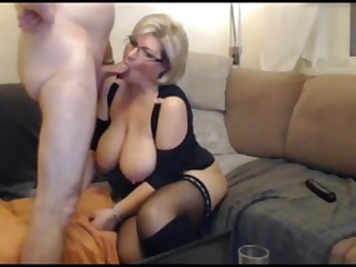 German auric BBW MILF with stockings coupled with scullery-maid sucks coupled with fucks