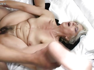 Gradual grandma fast fucked hard by young sweetheart