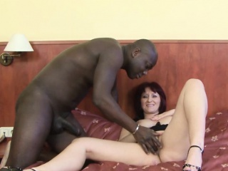 Experienced column fucked hard by baleful chap in the air say no to pussy interracial