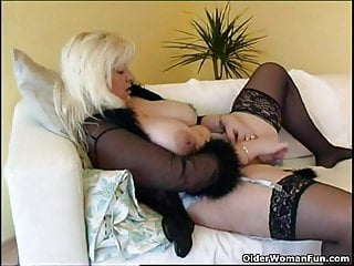 Heavy housewife up stockings plays here far-out copulation plaything